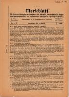 Merkblatt für Unterweisung der Bediensteten, Magdeburg, 15. April 1926