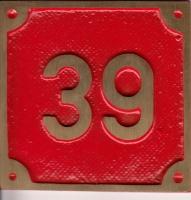 Schild aus Messingguss 60 x 60 mm, mit Nummer 39