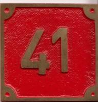 Schild aus Messingguss 60 x 60 mm, mit Nummer 41