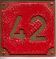 Schild aus Messingguss 60 x 60 mm, mit Nummer 42