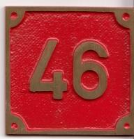 Schild aus Messingguss 60 x 60 mm, mit Nummer 46