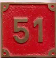 Schild aus Messingguss 60 x 60 mm, mit Nummer 51