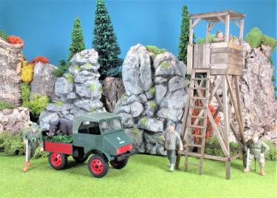 Bausatz Unimog Boehringer Forst mit Wildschwein (Ohne Figuren)