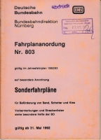 Deutsche Bundesbahn - Fahrplananordnung 803 - 1992