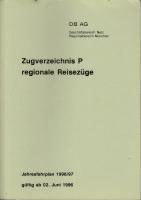 DB AG · Zugverzeichnis P regionale Reisezüge 1996/97