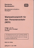 DB · Wartezeitvorschrift f. Personenverkehr (WZV) 1991
