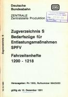 DB Zugverzeichnis S Bedarfszüge für Entlastungsmaßnahmen (1991)