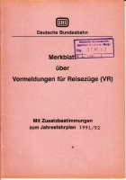 DB Merkblatt über Vormeldungen f. Reisezüge 1991