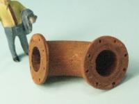 DUHA 11401 C - Gebogenes Rohr mit Flansch und Löchern (Spur H0)