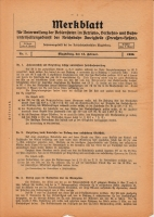 Merkblatt für Unterweisung der Bediensteten, Magdeburg, 15. Feburar 1926