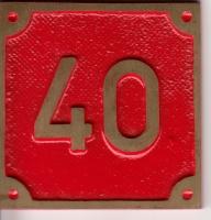 Schild aus Messingguss 60 x 60 mm, mit Nummer 40