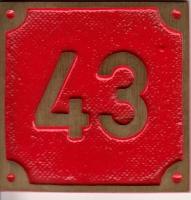 Schild aus Messingguss 60 x 60 mm, mit Nummer 43