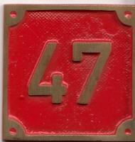 Schild aus Messingguss 60 x 60 mm, mit Nummer 47