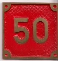 Schild aus Messingguss 60 x 60 mm, mit Nummer 50