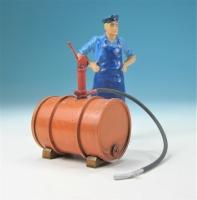 59600 F - Liegendes Ölfass (orange) mit Pumpe im Maßstab 1:22,5