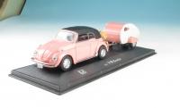 VW Beetle mit Wohnanhänger im Maßstab 1:43 - Spur 0